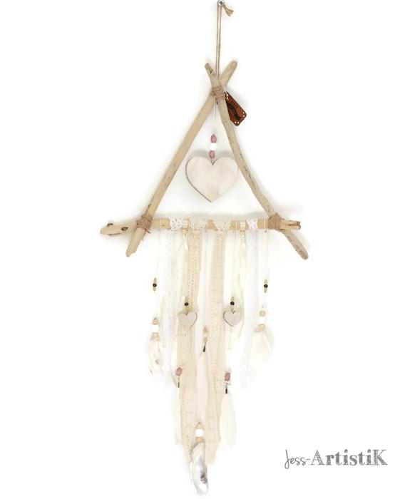 Attrape reves revisité bois flotté coeur, galerie jess artistik