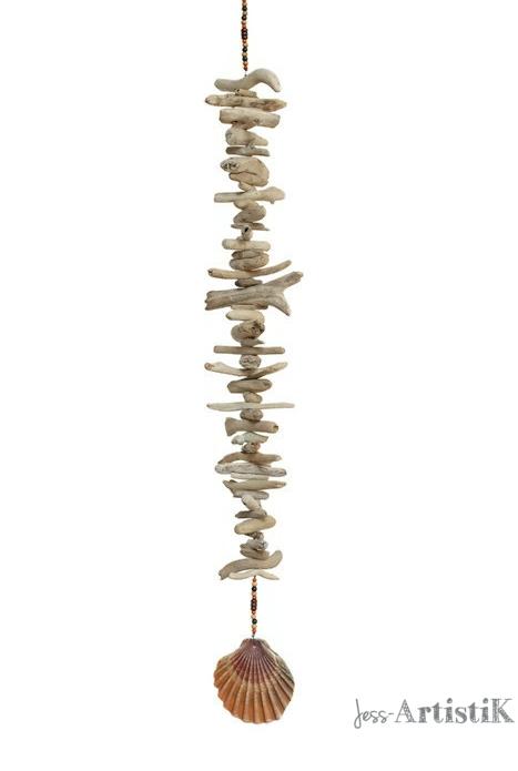 Guirlande bois flotté coquillage orangé, galerie jess artistik