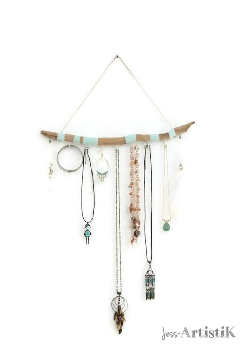Porte bijoux bois flotte peint, jess artistik galerie