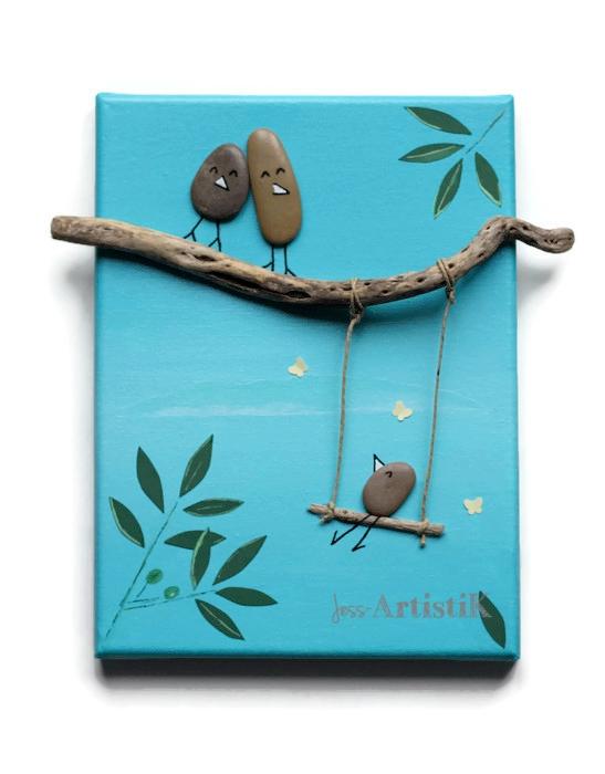 Tableau galets oiseaux balançoire méditerranée jess artistik galerie