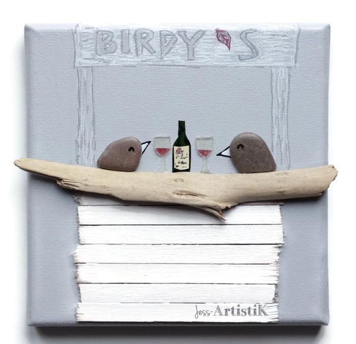 Tableau galets oiseaux bar vin, jess artistik