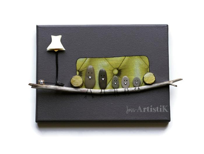 Quoi offrir, cadeau original, Tableau galets oiseaux canapé lampe, jess artistik