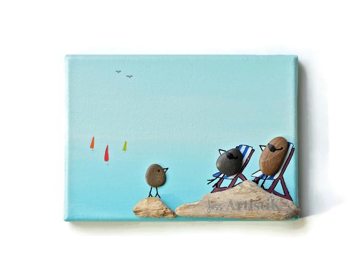 Quoi offrir, cadeau famille, Tableau galets oiseaux mer azur, jess artistik galerie