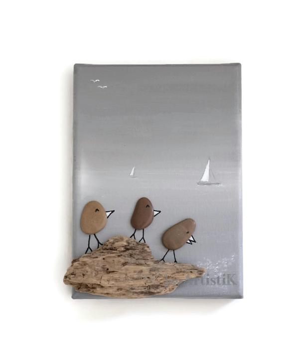 Tableau galets oiseaux mer grise jess artistik