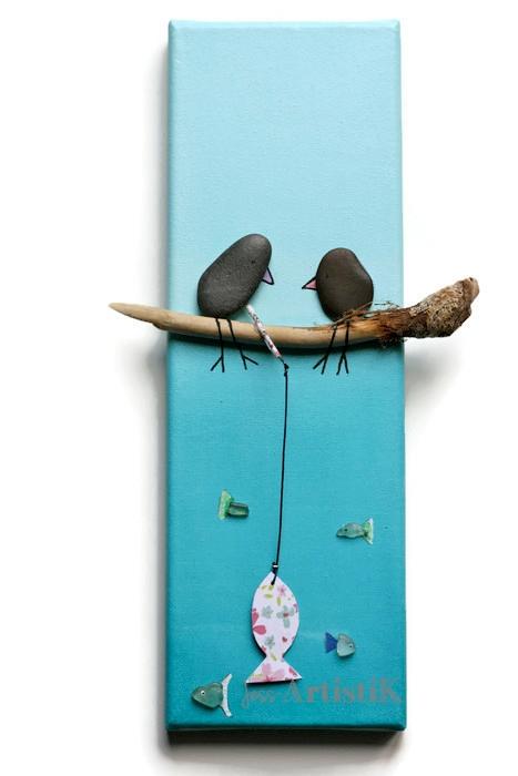 Tableau galets oiseaux peche tropiques jess artistik galerie