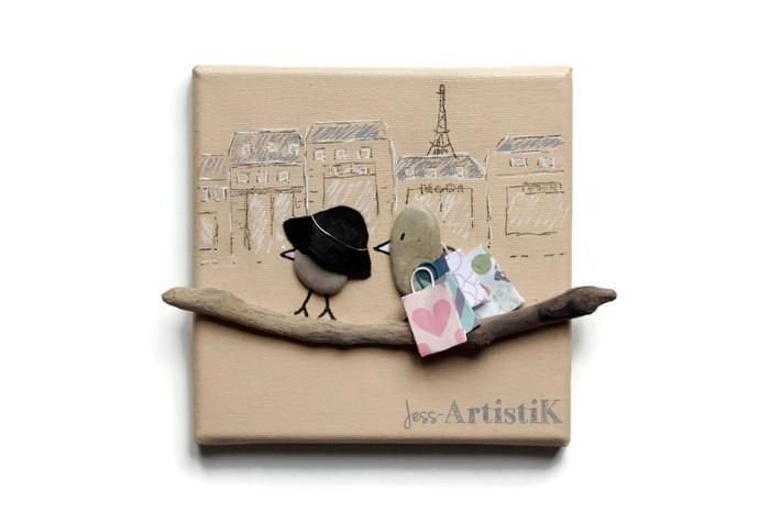 Quoi offrir copine, cadeau humour,Tableau galets oiseaux reines shopping, jess artistik