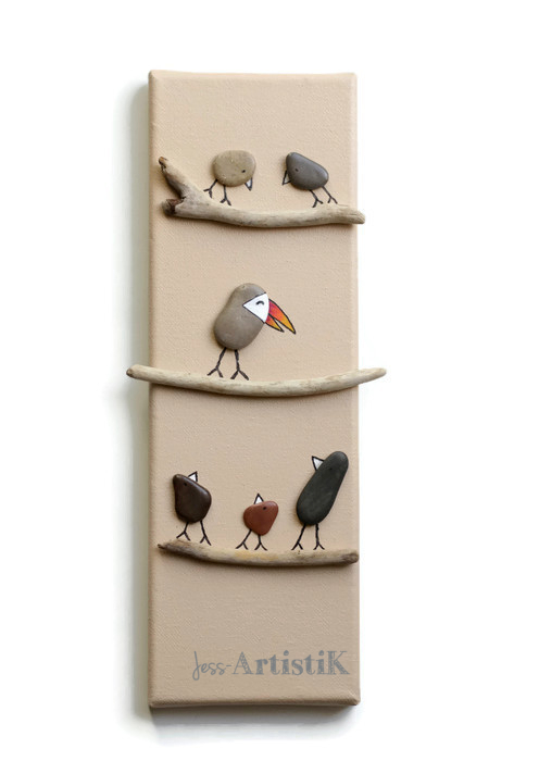 Tableau galets oiseaux toucan zozo bizarre jess artistik galerie